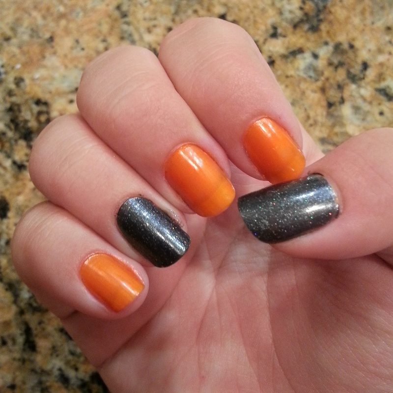 October challenge day 11 Orange and Black  nail art by KiboSanti