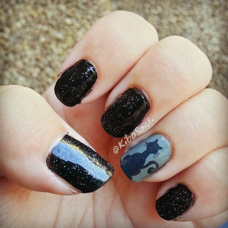 October challenge day 12 Black Cats  nail art by KiboSanti
