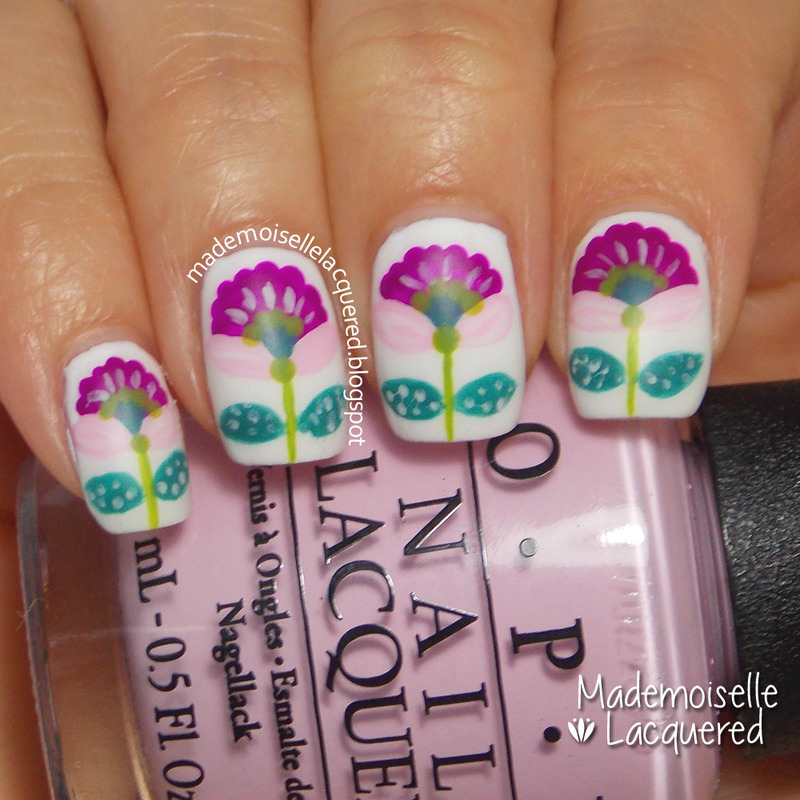 Purple Flowers Nails nail art by Emilia