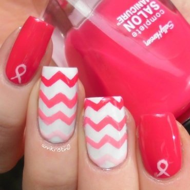 Breast Cancer Awareness Chevrons nail art by Ann-Kristin