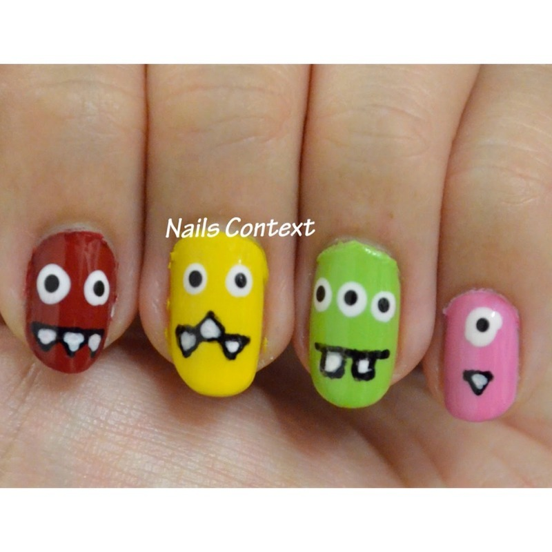 Cute Monsters nail art by NailsContext