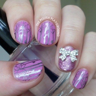 Purple and Silver Forest with Bow Stud Accent nail art by Lisa N