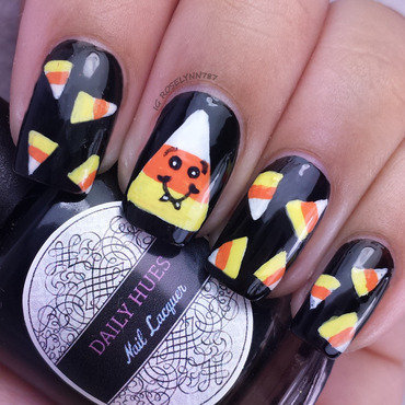 Candycorn halloween nails thumb370f
