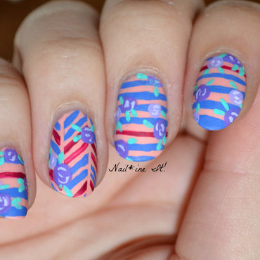 Floral rose nautical striped herringbone butter london kerfuffle acrylic paint nails85w thumb370f