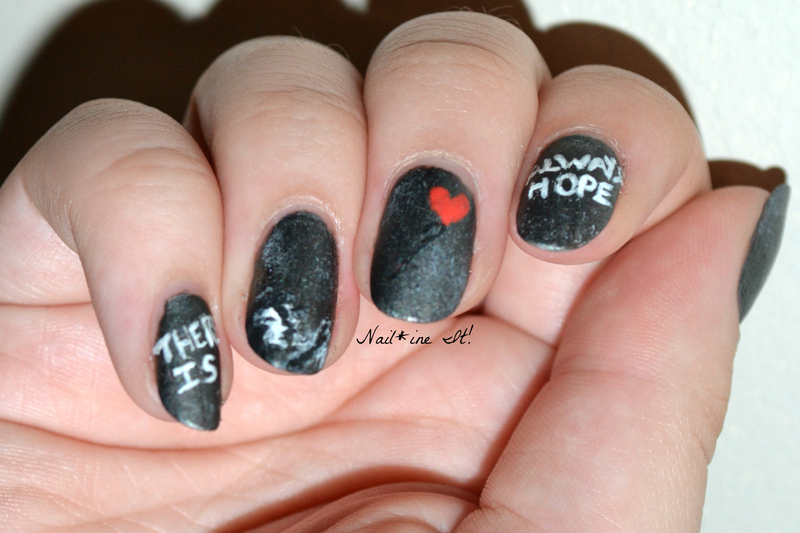 "Bansky ""There is Always Hope"" Graffiti Art nail art by Christine of Nail*ine It!"