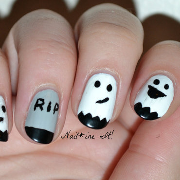 Ghost tombstone halloween nails tutorial 92w thumb370f