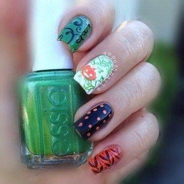 Halloween Jack O Lantern  nail art by Debbie
