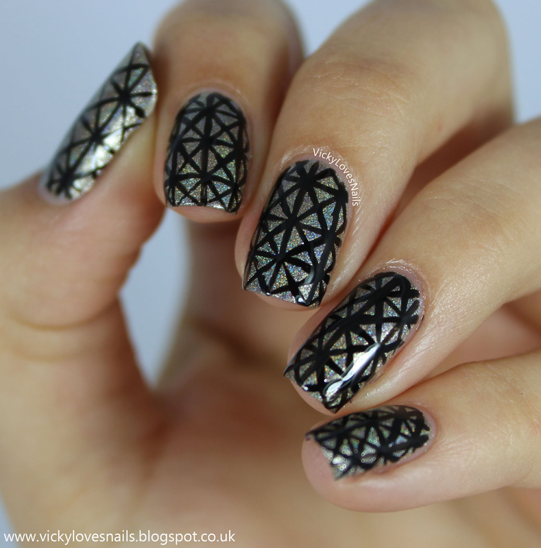 Holo Freehand Triangles nail art by Vicky Standage