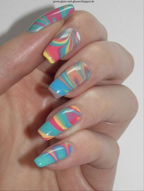 My first Water Marble nail art by greeench