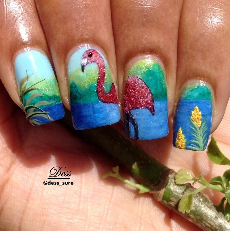 Flocking flamingo nail art by Dess_sure