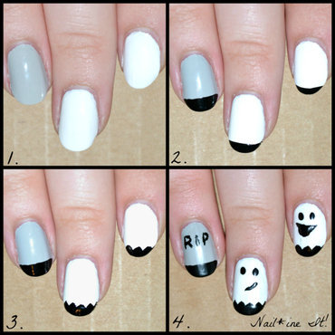Ghosts, & Tombstones, & Tutorials, Oh My! nail art by Christine of Nail*ine It!