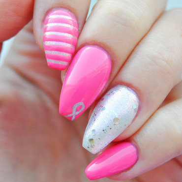 Breast cancer awareness ballerinas nail art by Patricija Zokalj