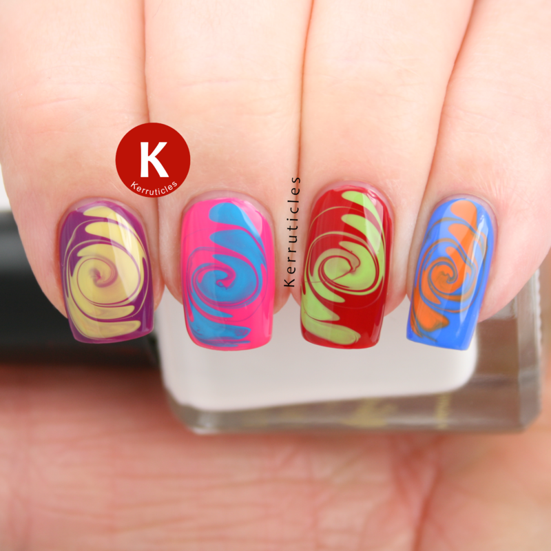 '60s psychedelic swirls skittle nail art by Claire Kerr