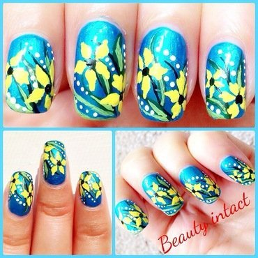 Floral Garden nail art by Beauty Intact