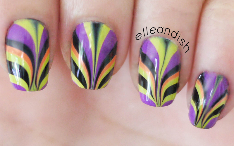 Watermarble Nails - Halloween nail art by elleandish
