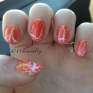 Candy Corn Crackle nail art by WhimseyFox