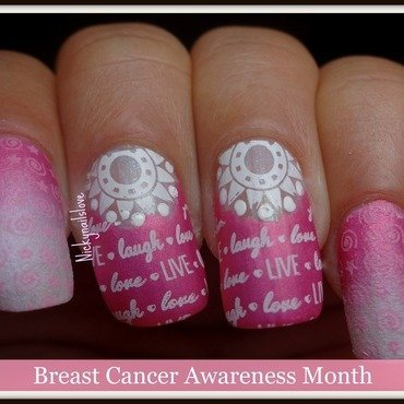 Breast cancer awareness mani!! nail art by Nicky