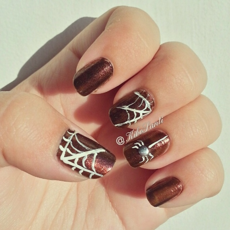 October challenge day 17 Spiders nail art by KiboSanti
