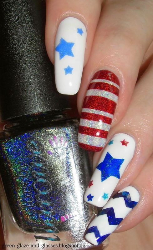 Happy 4th of July nail art by greeench