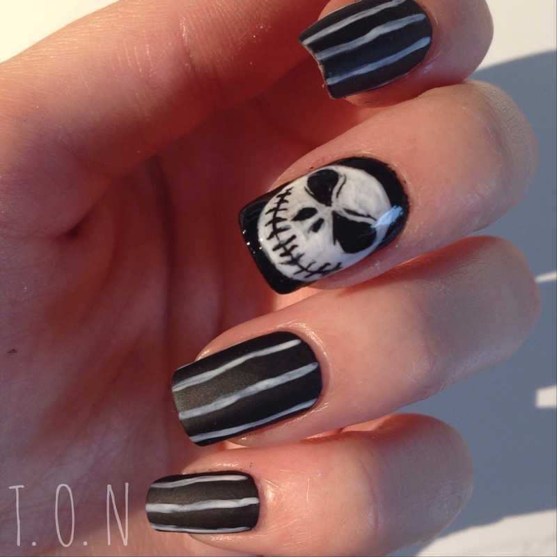 Jack Skellington nail art by Tipped Off Nails