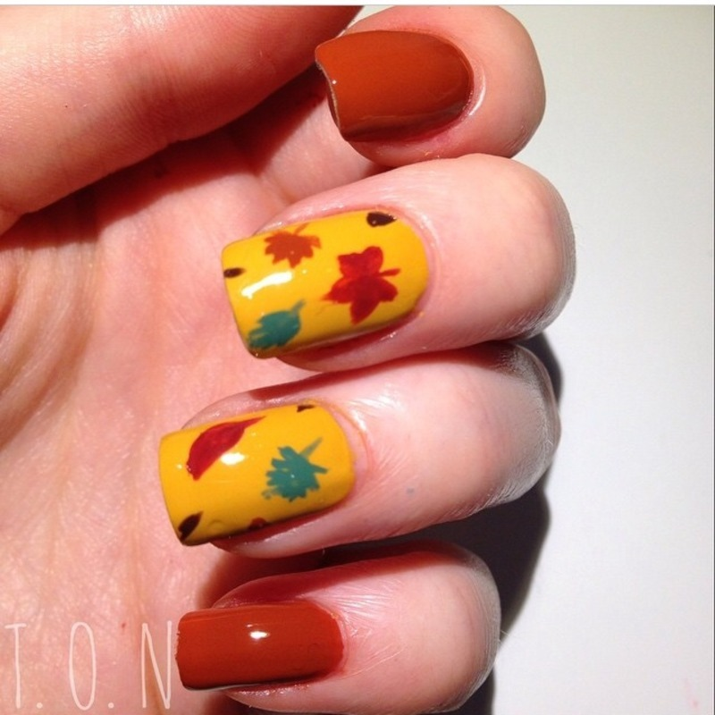 Autumn Leaves nail art by Tipped Off Nails