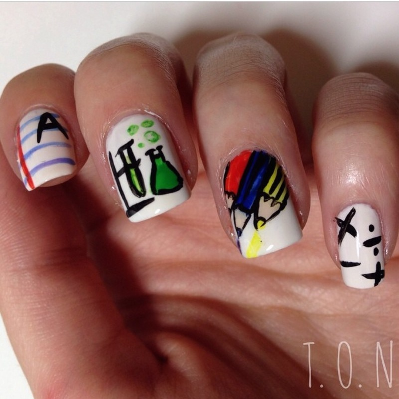 Back to School nail art by Tipped Off Nails