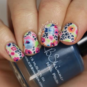 Leopard Print Florals nail art by Kelli Dobrin