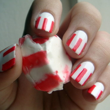 Peppermint Taffy nail art by Elin The Cupcake Cat