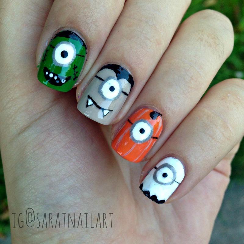 Spooky Minions nail art by Sara T