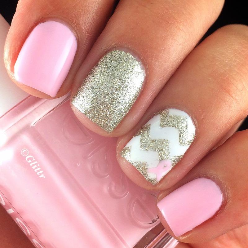 Breast Cancer Awareness Mani nail art by Glittr