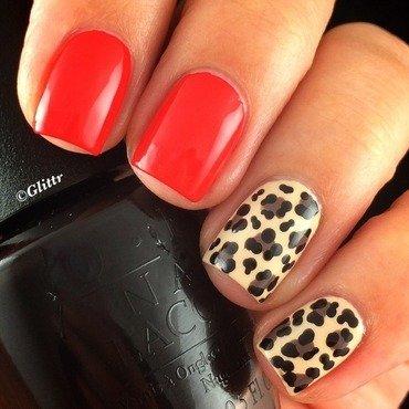 Red & Leopard Print nail art by Glittr