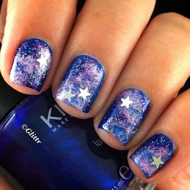 Galaxy Nails nail art by Glittr