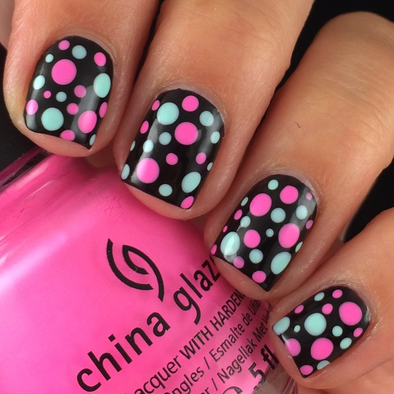 Bright Dotticure nail art by Glittr