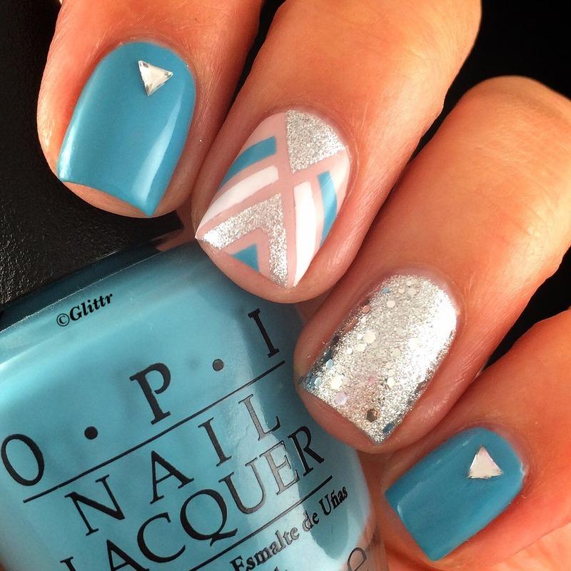 Striping Tape Mani nail art by Glittr