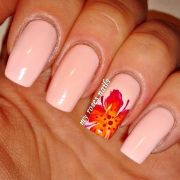 One stroke hibiscus nail art by Ewa