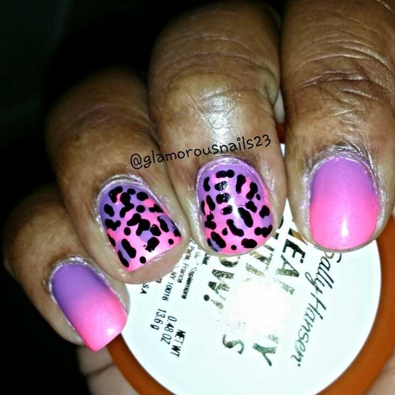 Ombre with leopard print nails nail art by glamorousnails23
