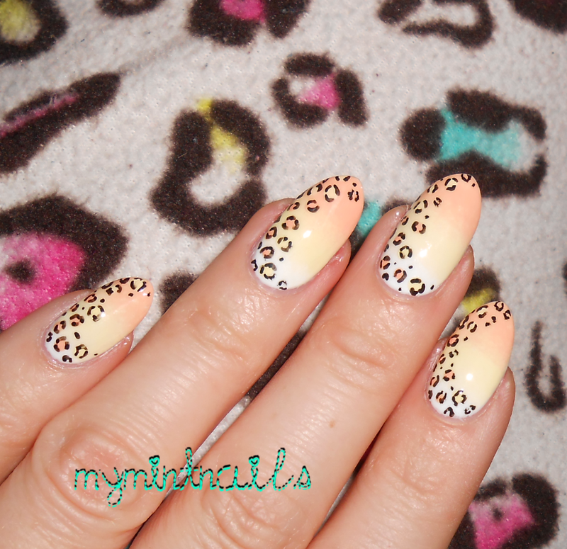 Leopard Candy Corn nail art by MyMintNails