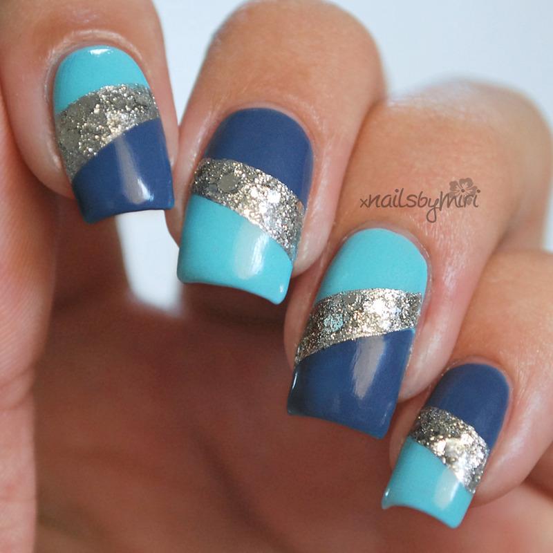 Blue Silver Purple nail art by xNailsByMiri