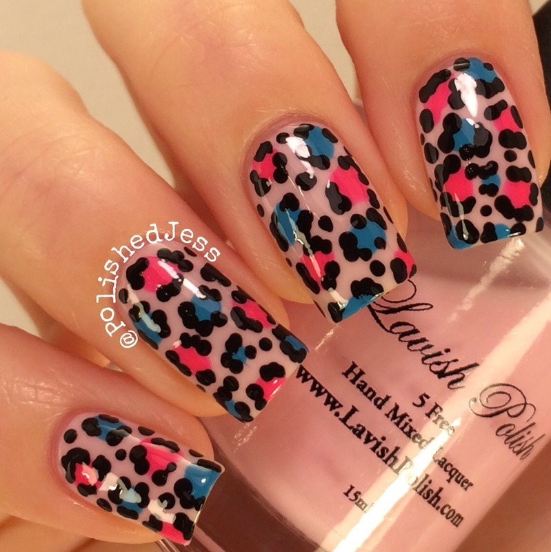Pink and Blue Leopard nail art by PolishedJess