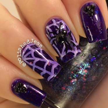 Spooky Spider nail art by PolishedJess
