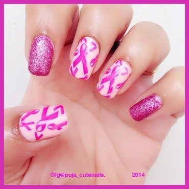 Breast cancer awareness mani nail art by Puja Malhotra