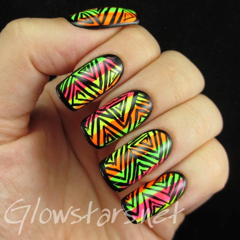 Triangle patterns and neon stripes nail art by Vic 'Glowstars' Pires