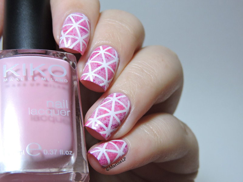 Pink geometry nail art by Marine Loves Polish