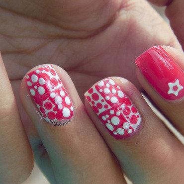 Color Block Polka Dots nail art by Nailz4fun