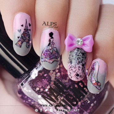 Cinderella Nails by @alpsnailart nail art by Alpsnailart