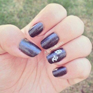 October challenge day 19 Ghost  nail art by KiboSanti
