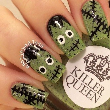 Mr. and Mrs. Frankenstein nail art by PolishedJess