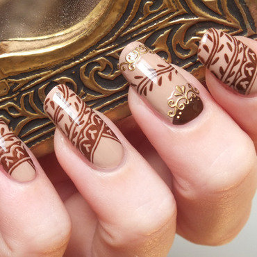 Nail art effet henne henna nude nailpolish innocent elf eyeslipsface chocolat stamping cheeky plaque jumbo c manucure orientale ongles longs 20 1  thumb370f