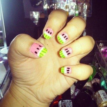 Watermelon  nail art by Melany Antelo