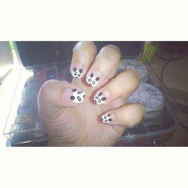 Panda nail art by Melany Antelo